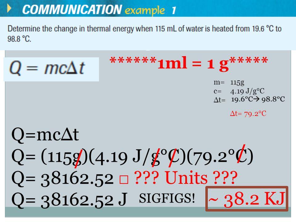 m= c= ∆t= ******1ml = 1 g***** 115g 4.19 J/g°C ∆t= 79.2°C Q=mc∆t Q= (115g)(4.19 J/g°C)(79.2°C) Q= 38162.52 □ .