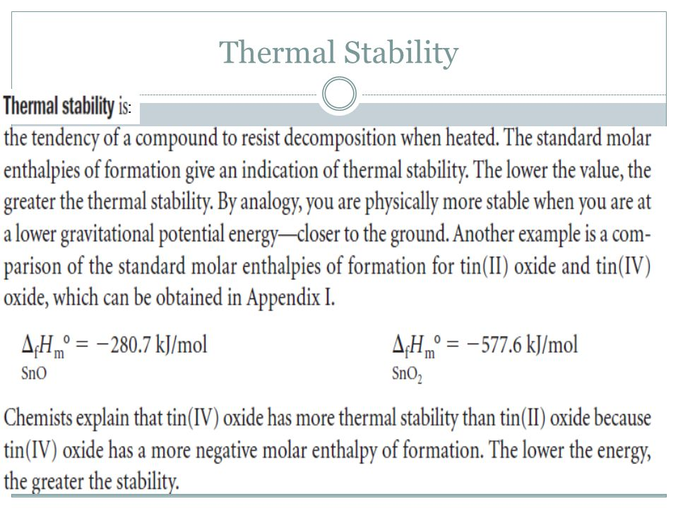 Thermal Stability :