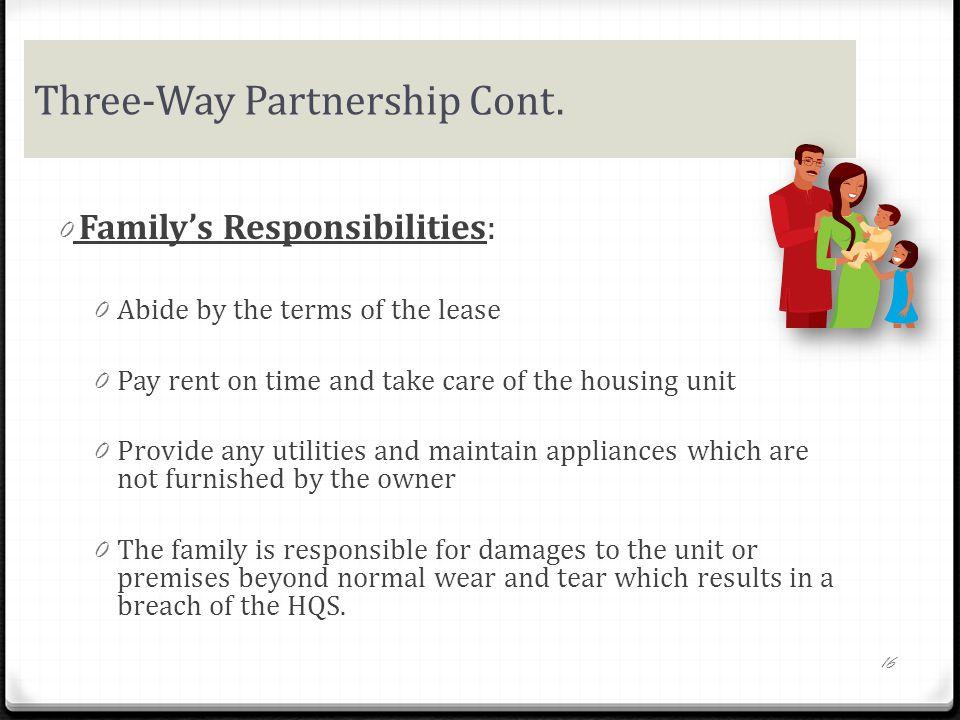 Three-Way Partnership Cont.