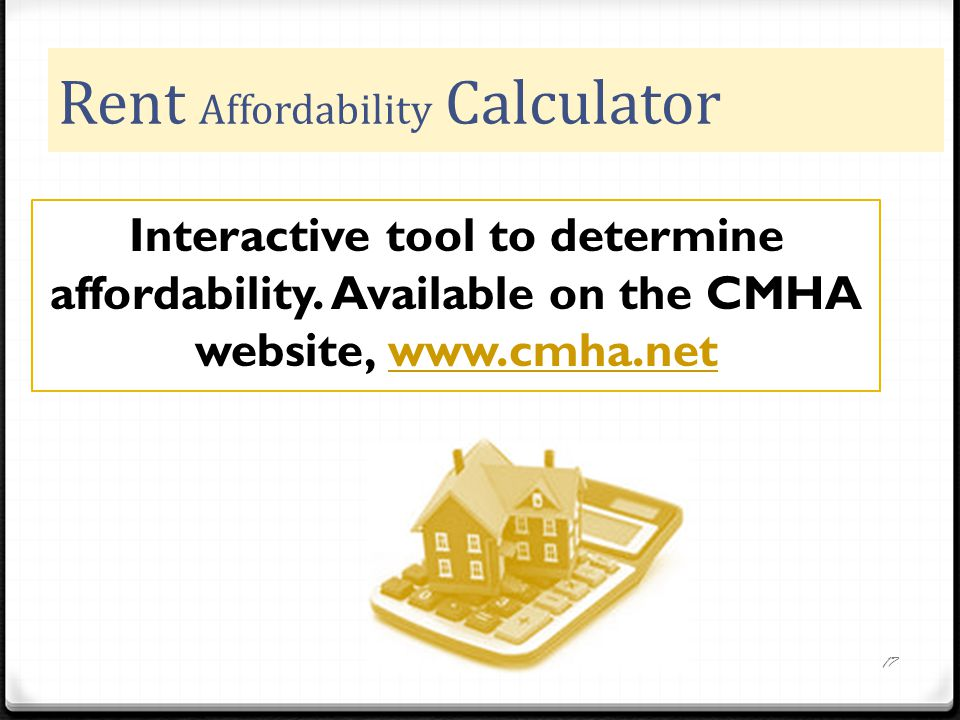 Rent Affordability Calculator 17 Interactive tool to determine affordability.