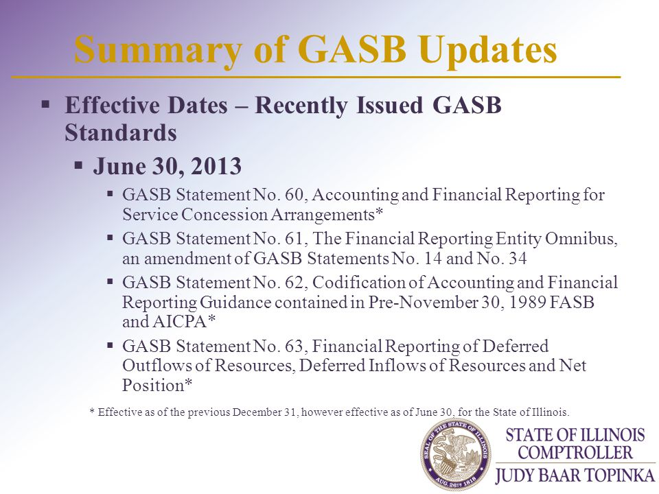 Summary of GASB Updates  Effective Dates – Recently Issued GASB Standards  June 30, 2013  GASB Statement No.