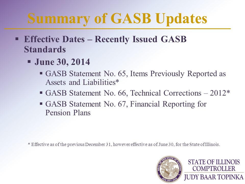 Summary of GASB Updates  Effective Dates – Recently Issued GASB Standards  June 30, 2014  GASB Statement No. 65, Items Previously Reported as Asset