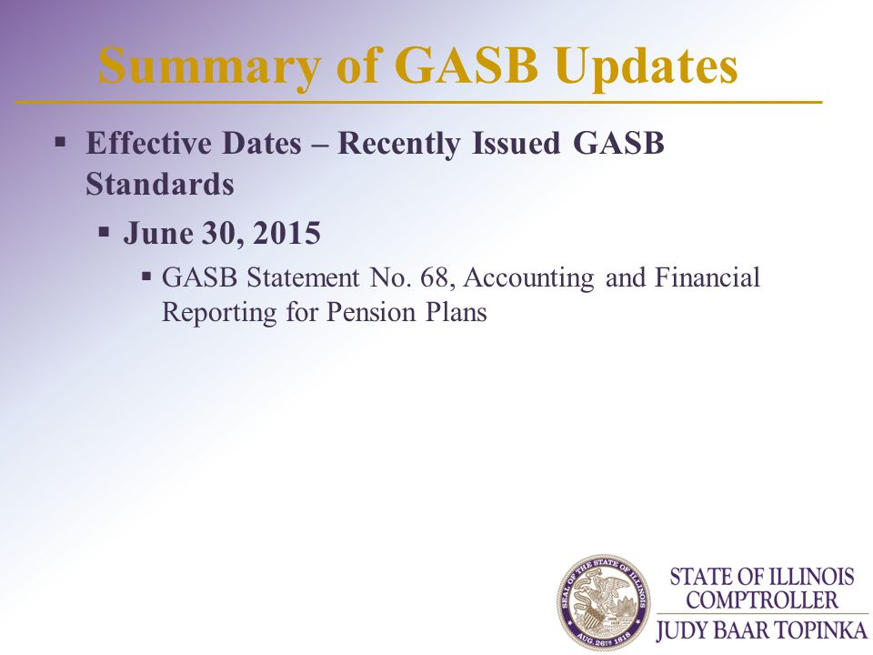 Summary of GASB Updates  Effective Dates – Recently Issued GASB Standards  June 30, 2015  GASB Statement No.