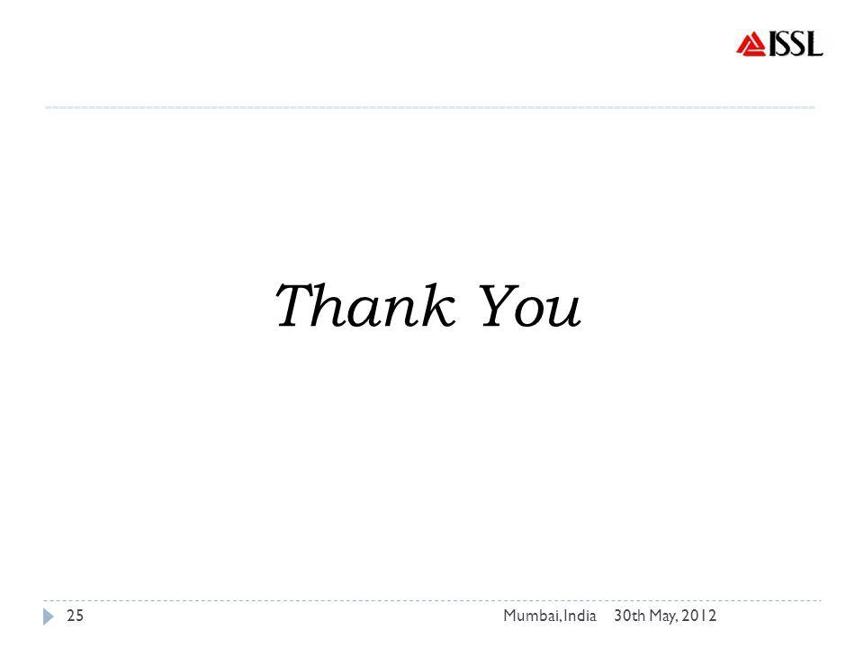 30th May, 2012Mumbai, India25 ----------------------------------------------------------------------------------------------------------- Thank You