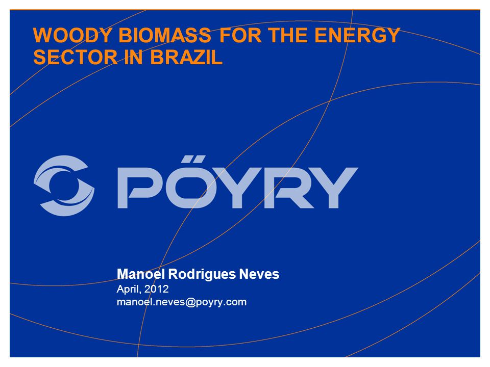WOODY BIOMASS FOR THE ENERGY SECTOR IN BRAZIL Manoel Rodrigues Neves April, 2012 manoel.neves@poyry.com
