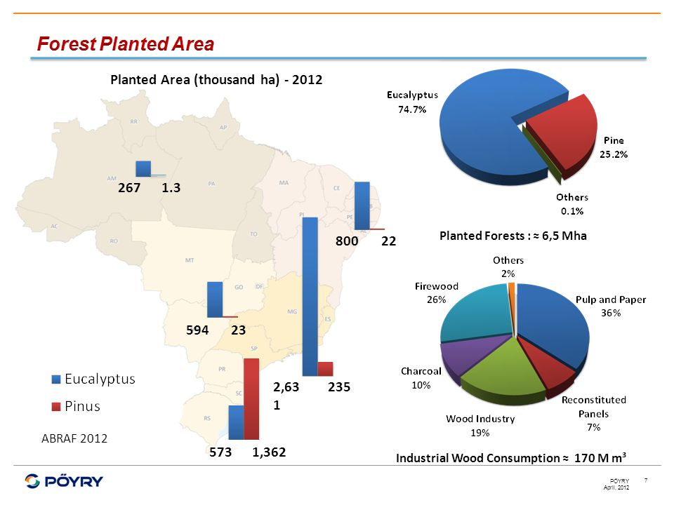 April, 2012 PÖYRY 7 2671.3 22800 23594 2352,63 1 1,362573 Planted Forests : ≈ 6,5 Mha Industrial Wood Consumption ≈ 170 M m³ Planted Area (thousand ha) - 2012 ABRAF 2012