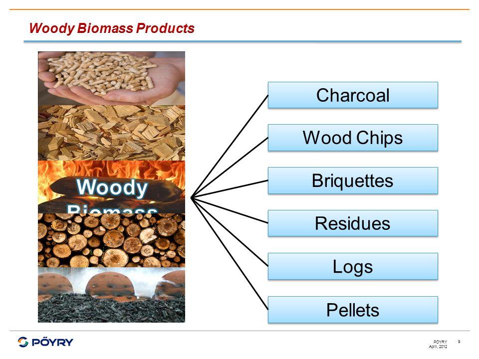 April, 2012 PÖYRY 9 Pellets Charcoal Wood Chips Logs Residues Briquettes