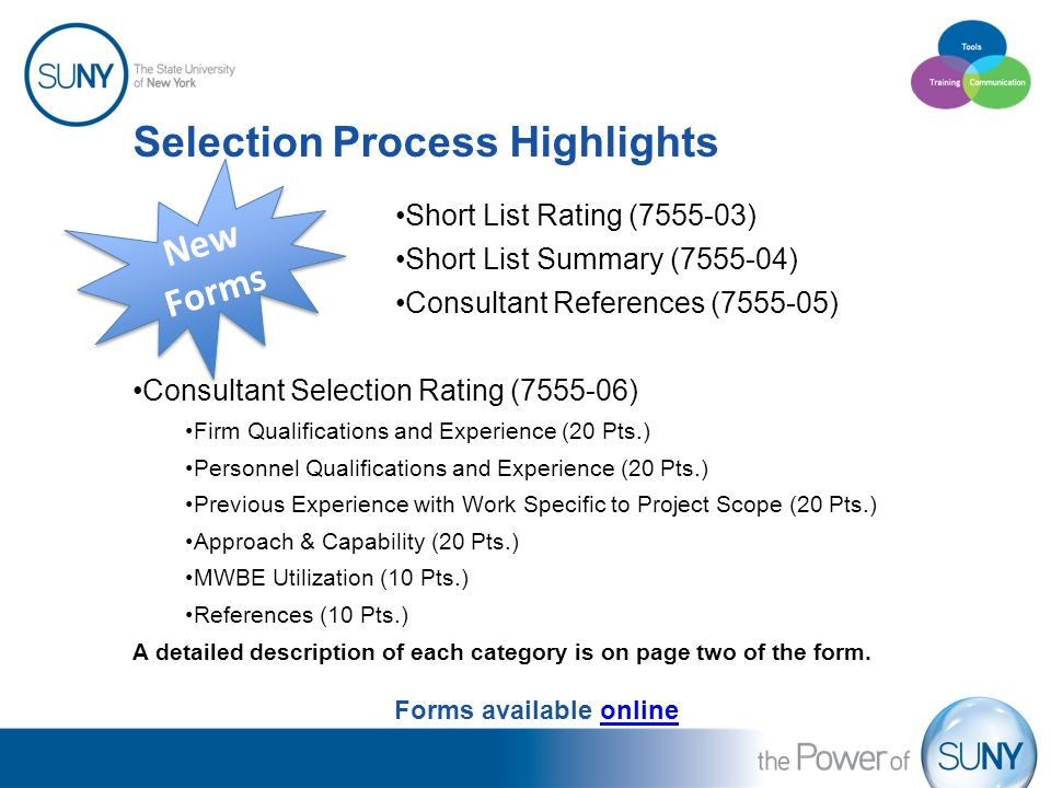 Selection Process Highlights Short List Rating (7555-03) Short List Summary (7555-04) Consultant References (7555-05) Consultant Selection Rating (755