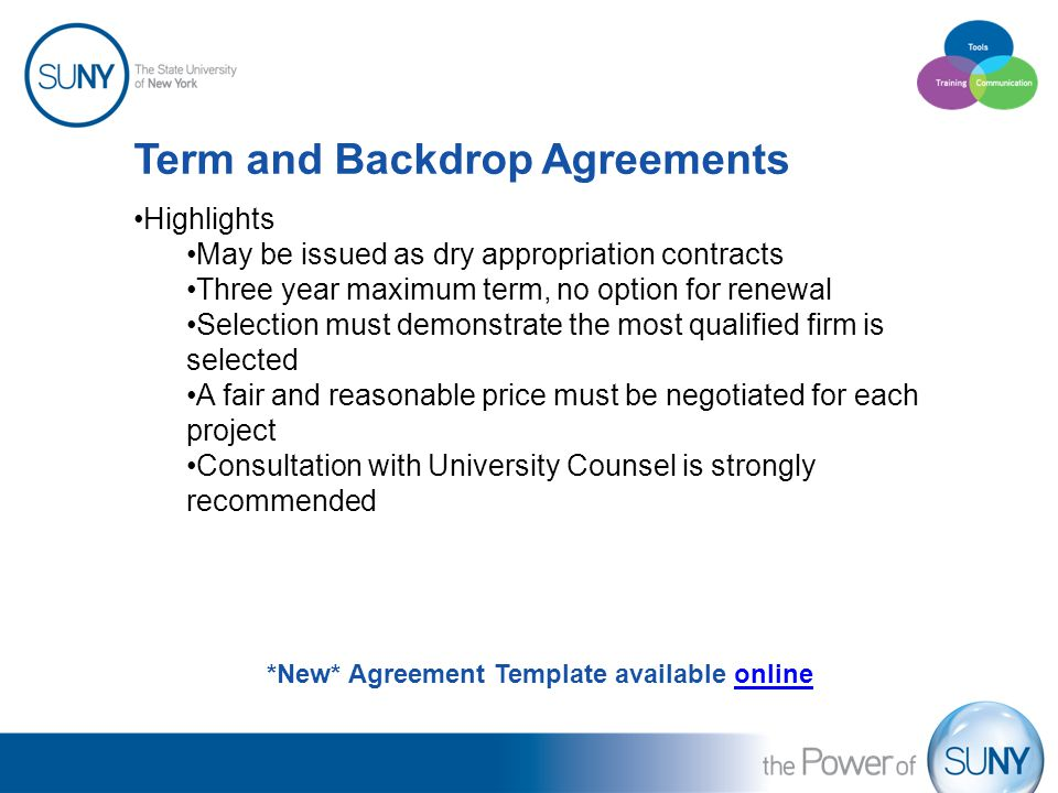 Term and Backdrop Agreements Highlights May be issued as dry appropriation contracts Three year maximum term, no option for renewal Selection must dem
