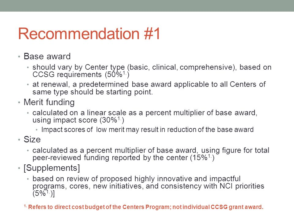 Recommendation #1 Base award should vary by Center type (basic, clinical, comprehensive), based on CCSG requirements (50% 1.
