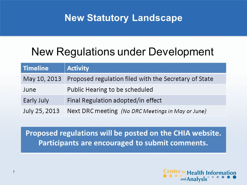 New Statutory Landscape 7 New Regulations under Development TimelineActivity May 10, 2013Proposed regulation filed with the Secretary of State JunePublic Hearing to be scheduled Early JulyFinal Regulation adopted/in effect July 25, 2013Next DRC meeting (No DRC Meetings in May or June) Proposed regulations will be posted on the CHIA website.
