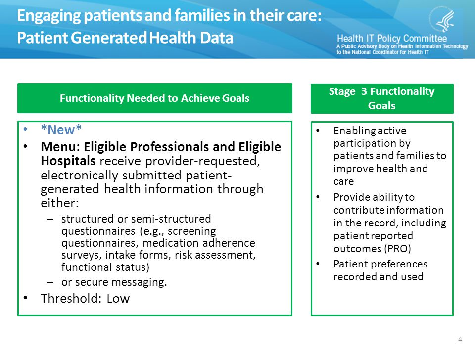Engaging patients and families in their care: Patient Generated Health Data 4 Functionality Needed to Achieve Goals *New* Menu: Eligible Professionals and Eligible Hospitals receive provider-requested, electronically submitted patient- generated health information through either: – structured or semi-structured questionnaires (e.g., screening questionnaires, medication adherence surveys, intake forms, risk assessment, functional status) – or secure messaging.