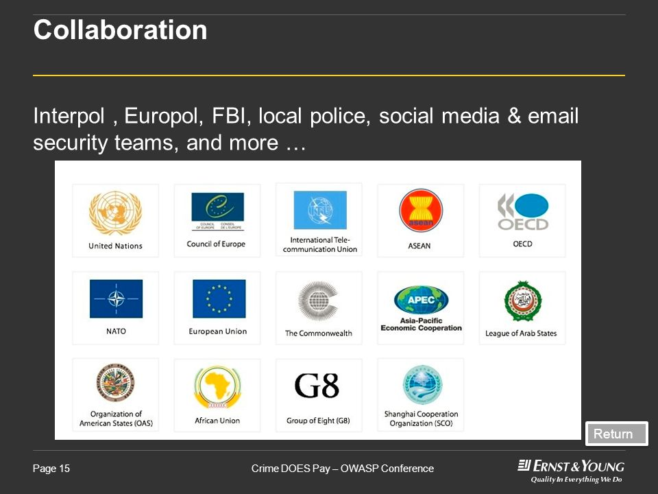 Crime DOES Pay – OWASP ConferencePage 15 Collaboration Interpol, Europol, FBI, local police, social media & email security teams, and more … Return