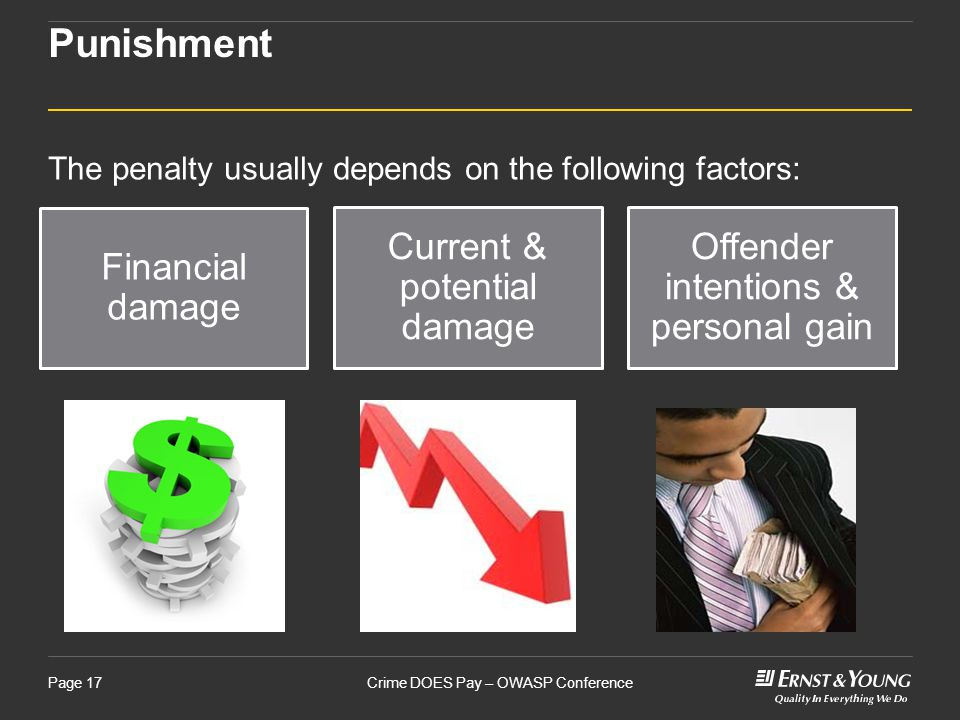 Crime DOES Pay – OWASP ConferencePage 17 Punishment The penalty usually depends on the following factors: Financial damage Current & potential damage Offender intentions & personal gain