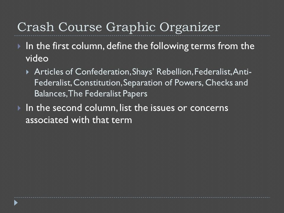 Crash Course Graphic Organizer  In the first column, define the following terms from the video  Articles of Confederation, Shays' Rebellion, Federalist, Anti- Federalist, Constitution, Separation of Powers, Checks and Balances, The Federalist Papers  In the second column, list the issues or concerns associated with that term