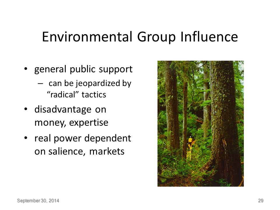 Environmental Group Influence general public support – can be jeopardized by radical tactics disadvantage on money, expertise real power dependent on salience, markets September 30, 2014 29