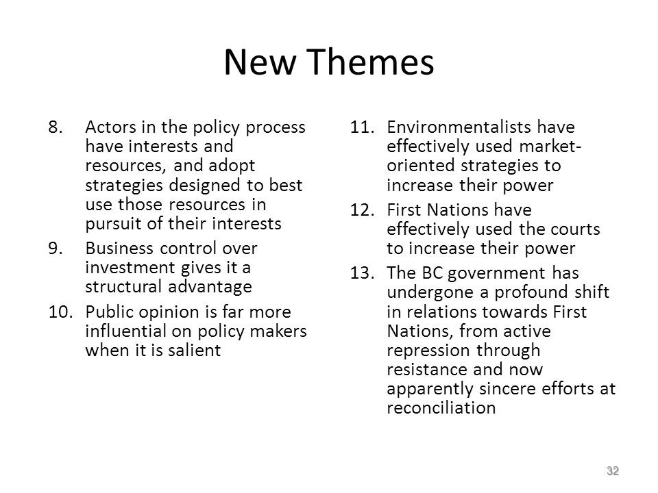 New Themes 8.Actors in the policy process have interests and resources, and adopt strategies designed to best use those resources in pursuit of their