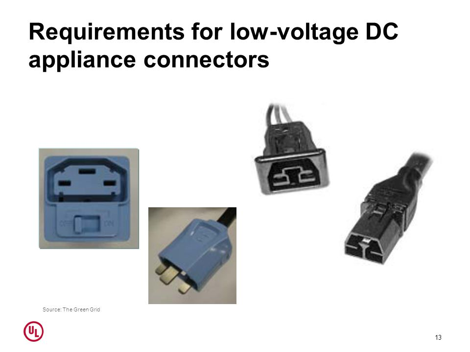 Requirements for low-voltage DC appliance connectors 13 Source: The Green Grid