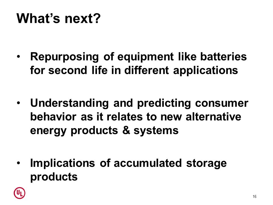 What's next? Repurposing of equipment like batteries for second life in different applications Understanding and predicting consumer behavior as it re