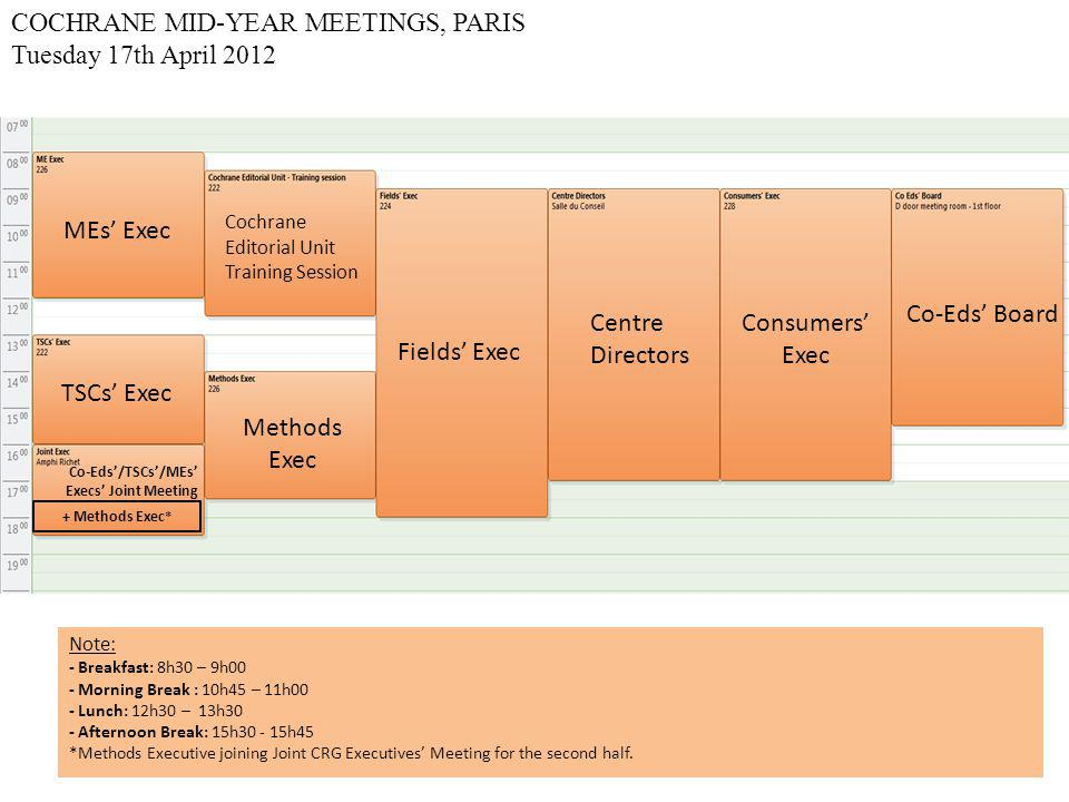 COCHRANE MID-YEAR MEETINGS, PARIS Wednesday 18th April 2012 Strategic Session MARS MEETING arranged by Jonathan Sterne & Barney Reeves SOCIAL EVENT Anniversary Task Force Note: - Breakfast: 8h30 – 9h00 - Morning Break: 11h30 – 12h00 -Afternoon Break: 14h00 – 14h15 - Social event from 18h30 to 21h30 Cochrane Summaries Meeting