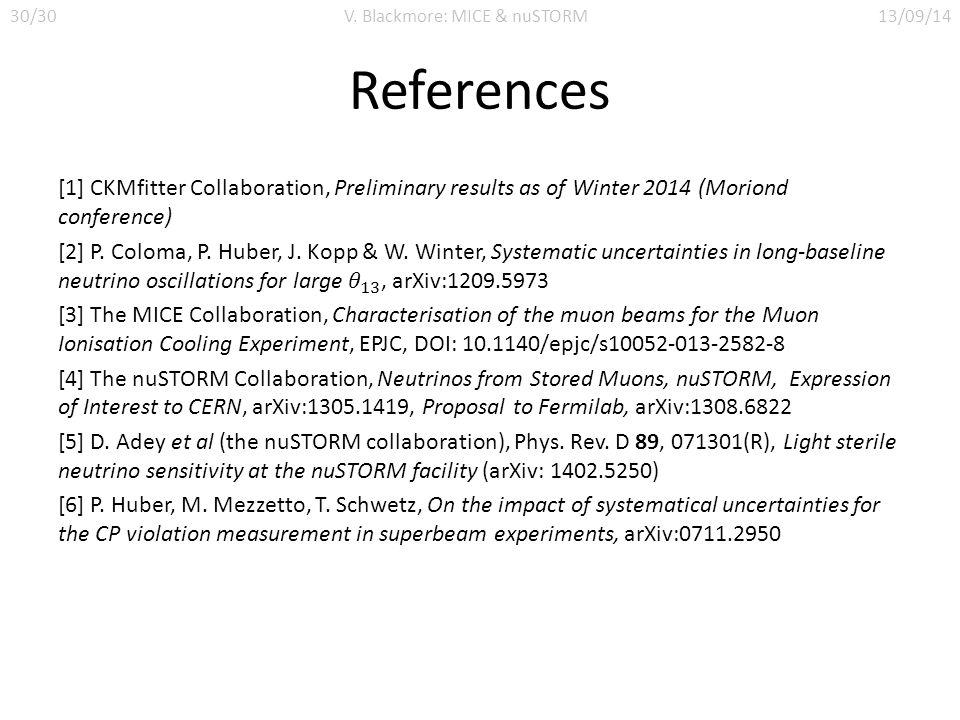 References 30/30V. Blackmore: MICE & nuSTORM13/09/14