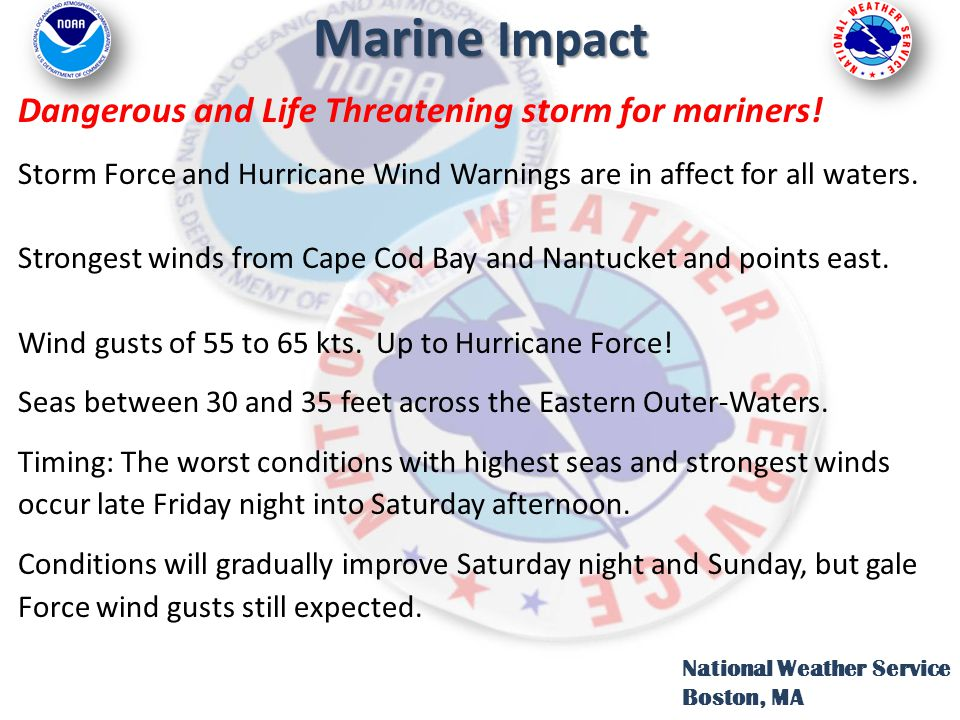 Marine Impact Dangerous and Life Threatening storm for mariners! Storm Force and Hurricane Wind Warnings are in affect for all waters. Strongest winds