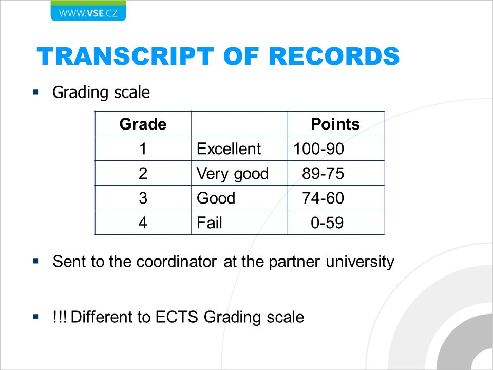 TRANSCRIPT OF RECORDS  Grading scale  Sent to the coordinator at the partner university  !!.