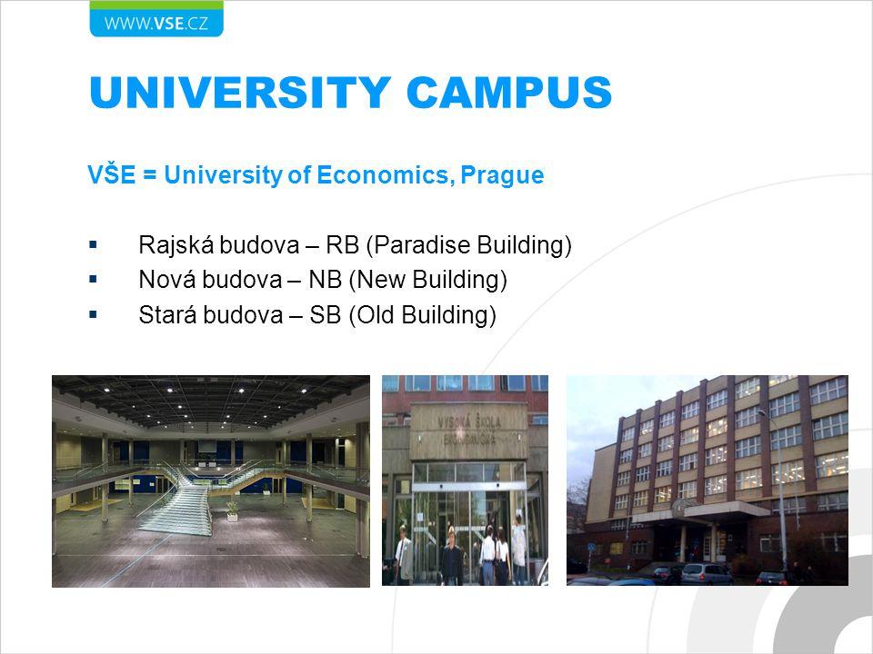 UNIVERSITY CAMPUS VŠE = University of Economics, Prague  Rajská budova – RB (Paradise Building)  Nová budova – NB (New Building)  Stará budova – SB (Old Building)