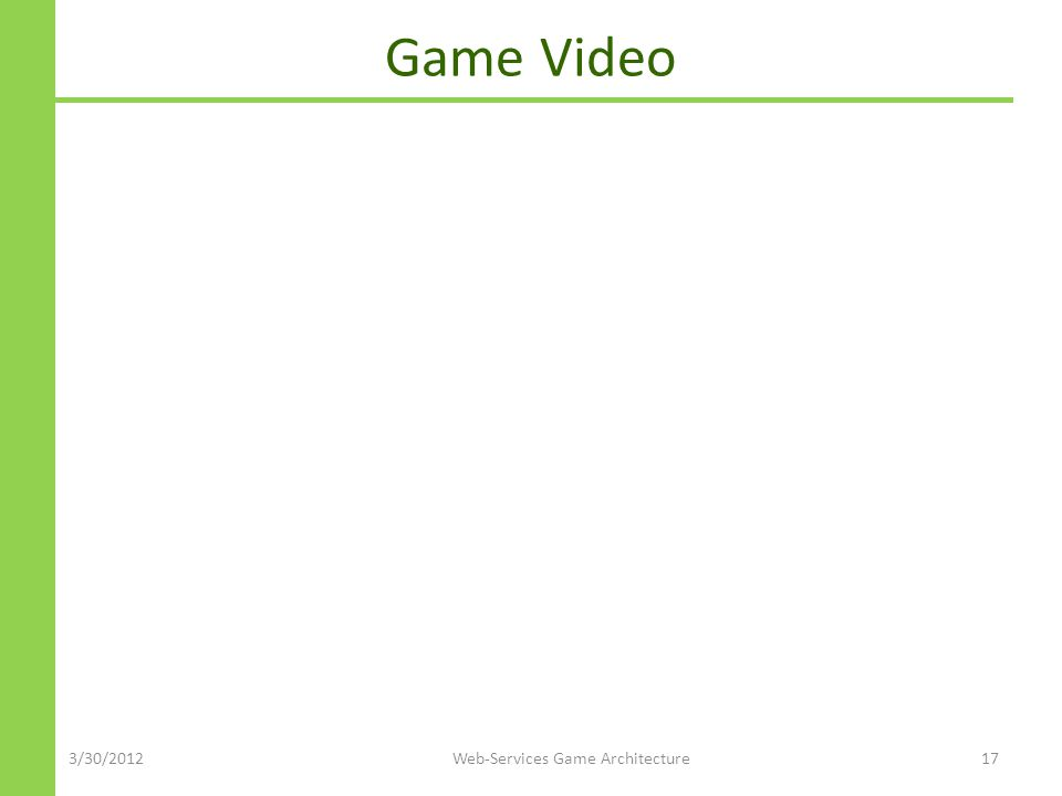 Game Video 3/30/2012Web-Services Game Architecture17