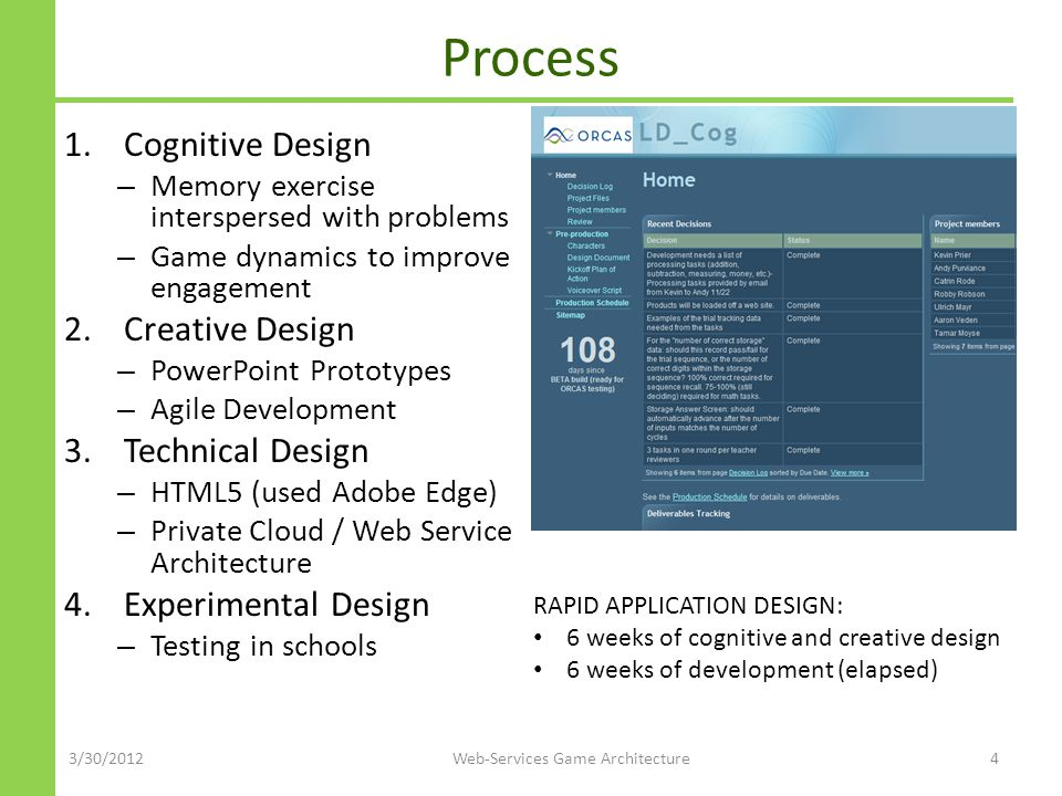 Process 1.Cognitive Design – Memory exercise interspersed with problems – Game dynamics to improve engagement 2.Creative Design – PowerPoint Prototypes – Agile Development 3.Technical Design – HTML5 (used Adobe Edge) – Private Cloud / Web Service Architecture 4.Experimental Design – Testing in schools 3/30/2012Web-Services Game Architecture4 RAPID APPLICATION DESIGN: 6 weeks of cognitive and creative design 6 weeks of development (elapsed)