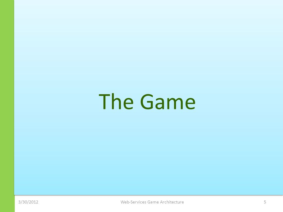 3/30/2012Web-Services Game Architecture5 The Game
