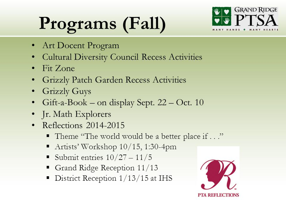 Programs (Fall) Art Docent Program Cultural Diversity Council Recess Activities Fit Zone Grizzly Patch Garden Recess Activities Grizzly Guys Gift-a-Book – on display Sept.