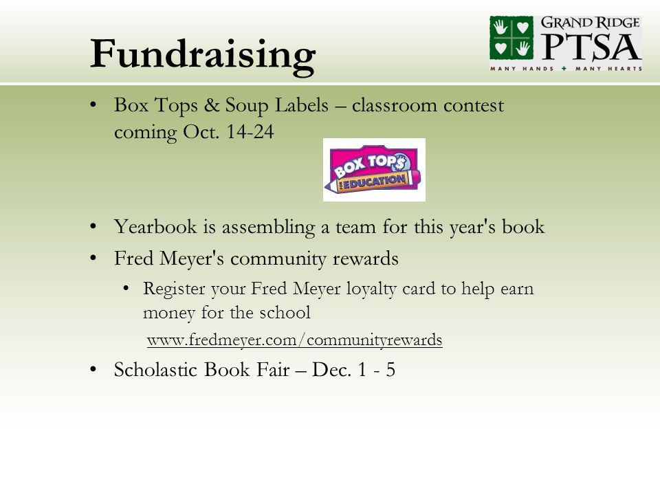 Fundraising Box Tops & Soup Labels – classroom contest coming Oct.