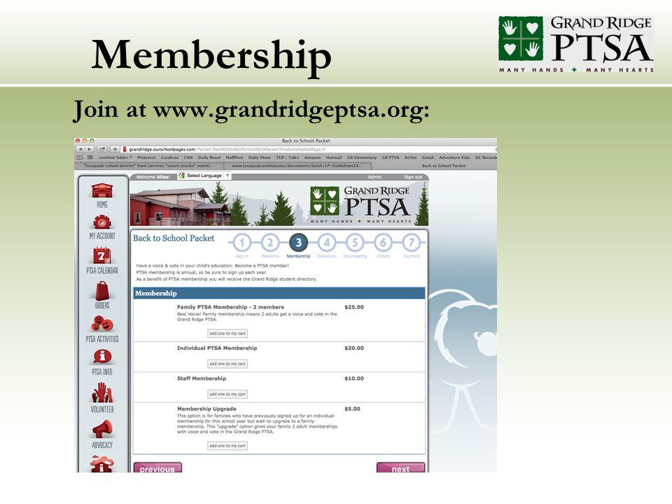 Membership Join at www.grandridgeptsa.org:....