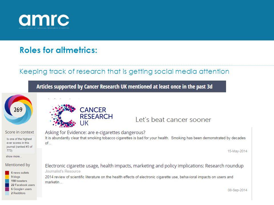 Roles for altmetrics: media monitoring…