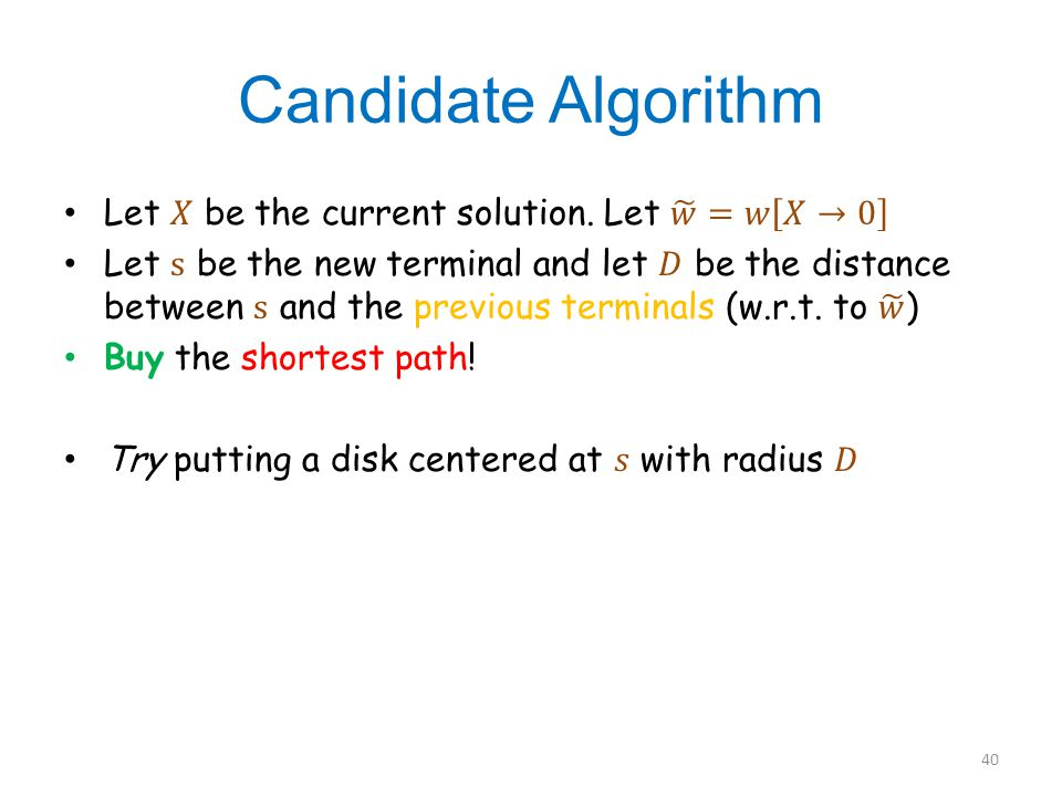 Candidate Algorithm 40
