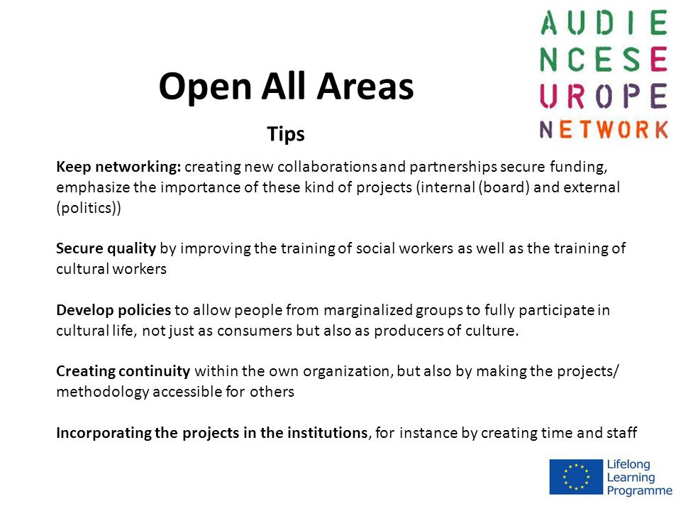 Open All Areas Keep networking: creating new collaborations and partnerships secure funding, emphasize the importance of these kind of projects (internal (board) and external (politics)) Secure quality by improving the training of social workers as well as the training of cultural workers Develop policies to allow people from marginalized groups to fully participate in cultural life, not just as consumers but also as producers of culture.