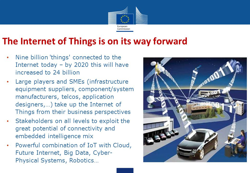 Nine billion things connected to the Internet today – by 2020 this will have increased to 24 billion Large players and SMEs (infrastructure equipment suppliers, component/system manufacturers, telcos, application designers,…) take up the Internet of Things from their business perspectives Stakeholders on all levels to exploit the great potential of connectivity and embedded intelligence mix Powerful combination of IoT with Cloud, Future Internet, Big Data, Cyber- Physical Systems, Robotics… The Internet of Things is on its way forward