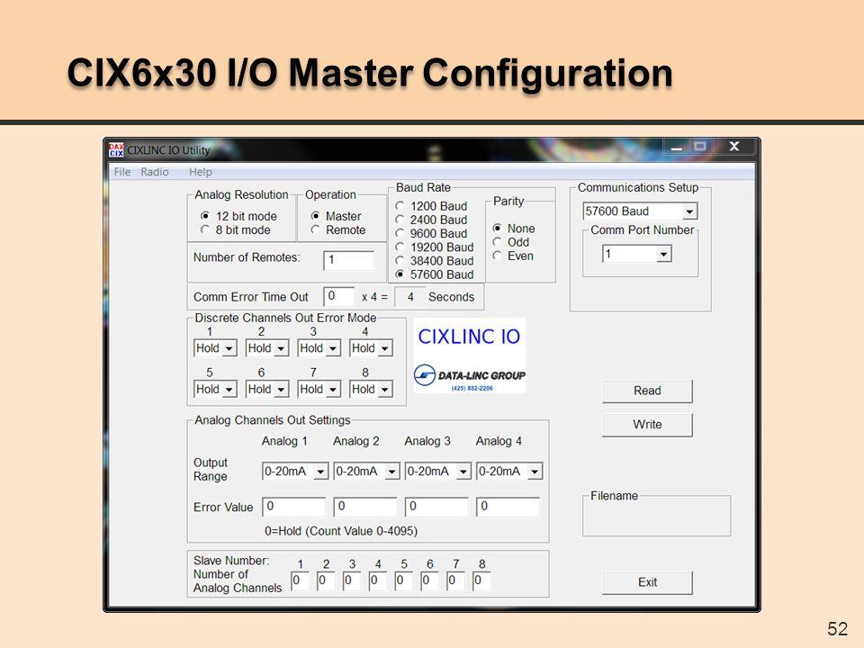 52 CIX6x30 I/O Master Configuration
