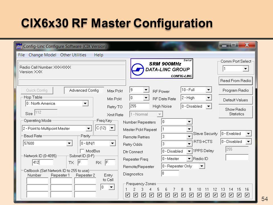 54 CIX6x30 RF Master Configuration