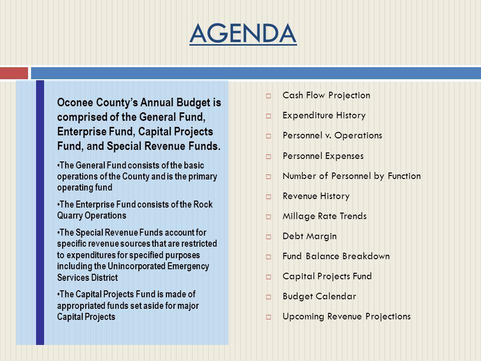 AGENDA  Cash Flow Projection  Expenditure History  Personnel v.