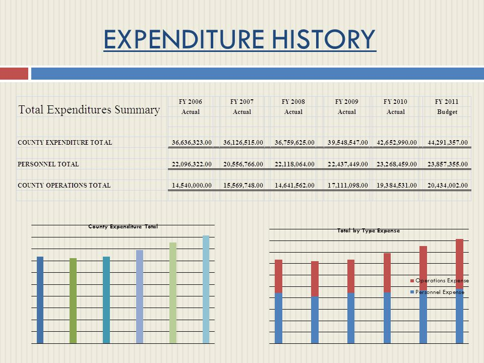 EXPENDITURE HISTORY Instructions: These are embedded graphs.