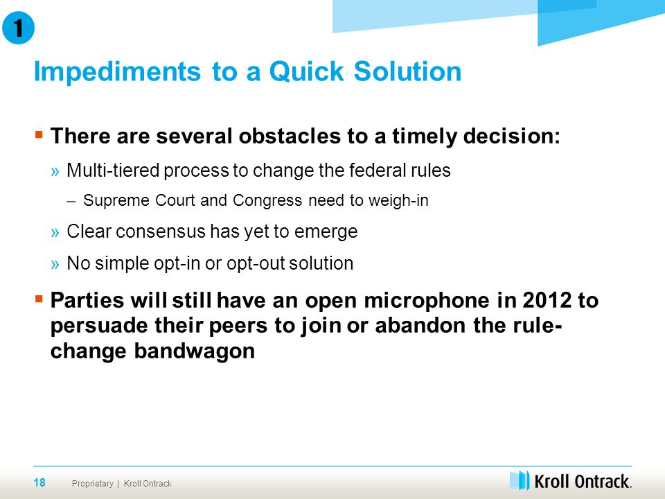 Proprietary | Kroll Ontrack Impediments to a Quick Solution 18 1  There are several obstacles to a timely decision: »Multi-tiered process to change the federal rules –Supreme Court and Congress need to weigh-in »Clear consensus has yet to emerge »No simple opt-in or opt-out solution  Parties will still have an open microphone in 2012 to persuade their peers to join or abandon the rule- change bandwagon