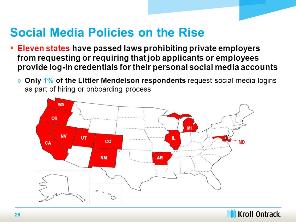 WA OR NV CA UT CO NMAR IL MI  Eleven states have passed laws prohibiting private employers from requesting or requiring that job applicants or employees provide log-in credentials for their personal social media accounts »Only 1% of the Littler Mendelson respondents request social media logins as part of hiring or onboarding process Social Media Policies on the Rise 26 MD