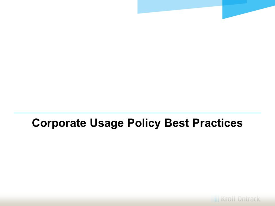 Corporate Usage Policy Best Practices