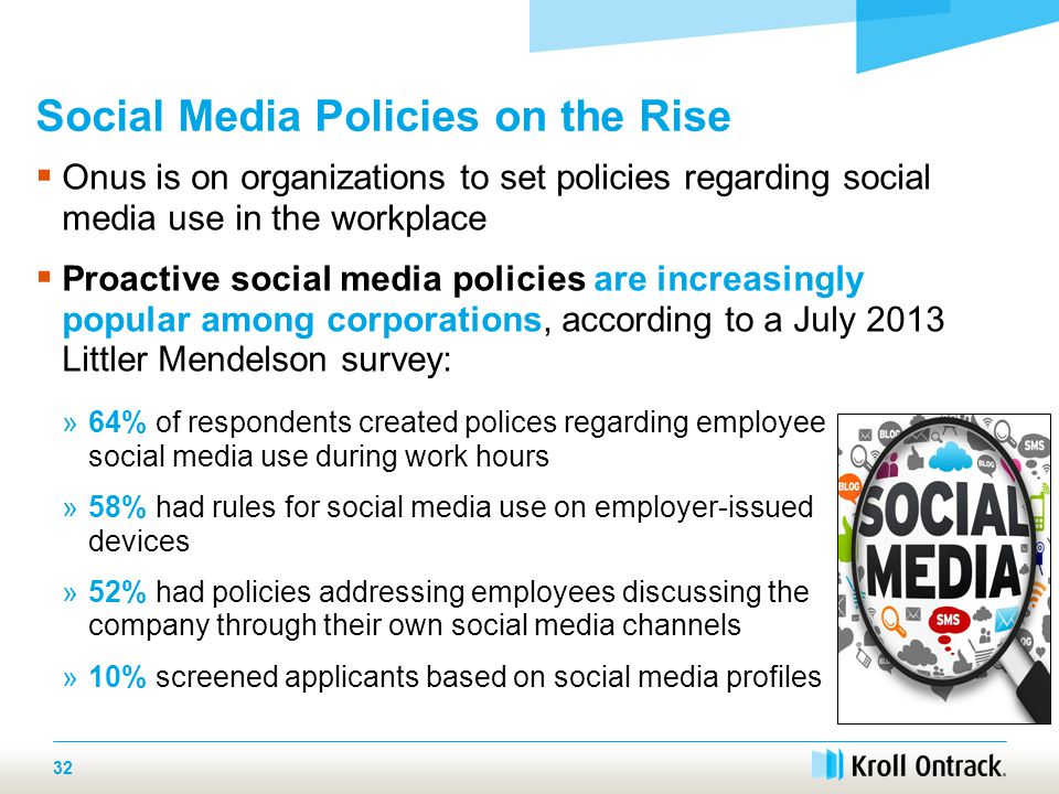  Onus is on organizations to set policies regarding social media use in the workplace  Proactive social media policies are increasingly popular among corporations, according to a July 2013 Littler Mendelson survey: Social Media Policies on the Rise 32 »64% of respondents created polices regarding employee social media use during work hours »58% had rules for social media use on employer-issued devices »52% had policies addressing employees discussing the company through their own social media channels »10% screened applicants based on social media profiles