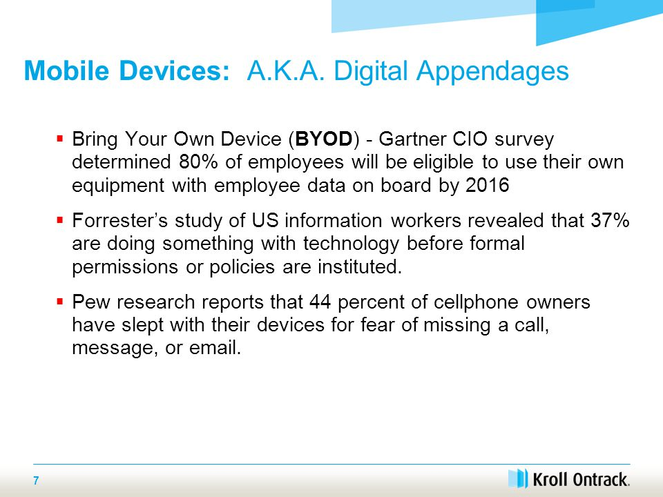  Bring Your Own Device (BYOD) - Gartner CIO survey determined 80% of employees will be eligible to use their own equipment with employee data on board by 2016  Forrester's study of US information workers revealed that 37% are doing something with technology before formal permissions or policies are instituted.