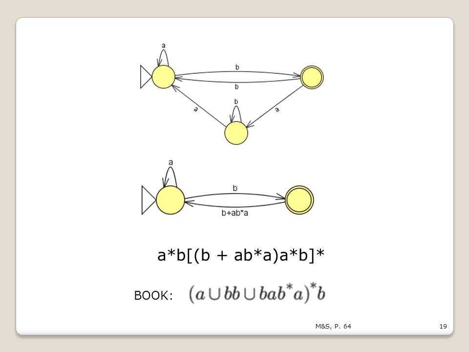 19M&S, P. 64 a*b[(b + ab*a)a*b]* BOOK: