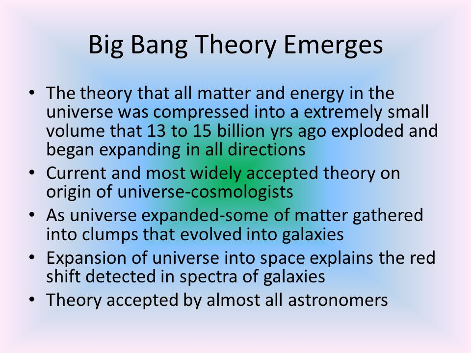 Cosmic Background Radiation Radiation uniformly detected from every direction in space; considered a remnant of the big bang Formed shortly after the big bang Shortly after big bang, universe would have been very hot and cooled to great extent by now Temp of radiation is 270 deg C below zero