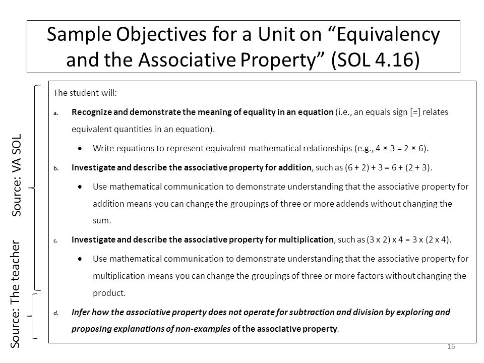 Sample Objectives for a Unit on Equivalency and the Associative Property (SOL 4.16) The student will: a.